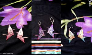 Geometric Origami Crane Earrings by TrollGirl