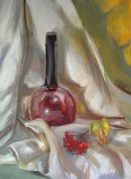 Still life with a bottle and guelder-rose by AnastasiaMorning
