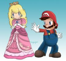 Mario and Peach Brawl by SugarJem