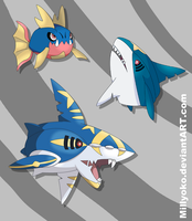 Carvanha, Sharpedo and Mega Sharpedo
