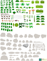 Background Builder-Grass, Shrubs And Rocks by Kphoria