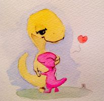 Happy Valentines! #ddf2014 #art #dinodoodle by SylvanCreatures