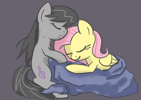 Fluttershy and Octavia Napping by spicyhamsandwich