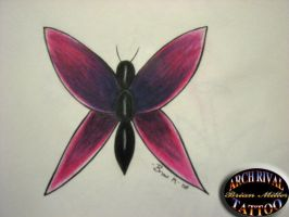 butterfly tattoo drawing by theothertattooguy