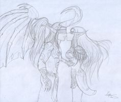 Illidan and Tyrende by Bronwe