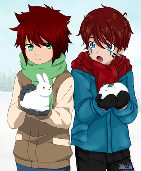 [P.Collab]  Two children on the snow by Yuiccia