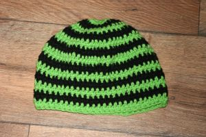 Lime Green and Black Beanie by LilithsSmile
