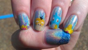 Mistys Pokemon Nails Stamped by rabbithat8
