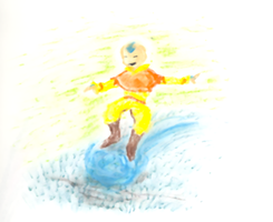 A:TLA - Oil Pastel Aang by DelusionInABox