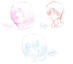 Mikasa,Eren and Armin Anime sketch Version By me by 0Angelaum0