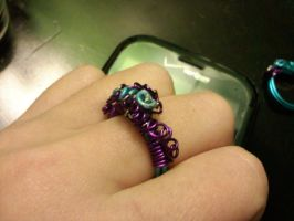 Purple coiled and swirled Blue Ring by EllasDesigns