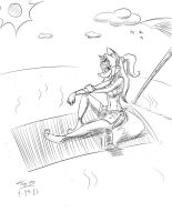 Stacey at the Beach -B/W doodle- by Django90