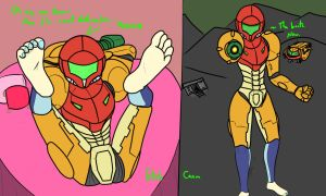 Samus: Fetish View Vs. Canon View by JeffersonTJacobs