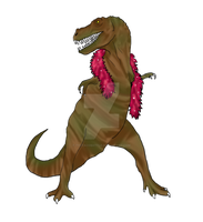 A Tyranossaurus Rex with a pink scarf... lol by TheFacoBattle