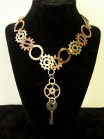 Mixed Metals Gear Necklace by TheJugulateJeweler