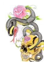 snake, rose and scull tattoo by MercyTattoos