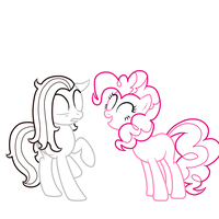 Pinkie Out of nowhere Lineart by muzza299