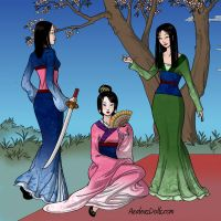 The Three Mulan Outfits by lauraboo123