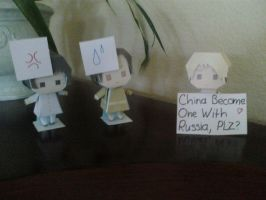 China, Japan, Russia Papercraft by Yvune