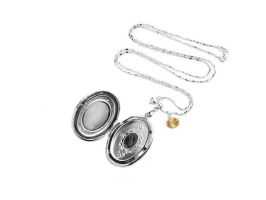 Golden Galaxy Topaz Locket Picture Necklace by crystaland