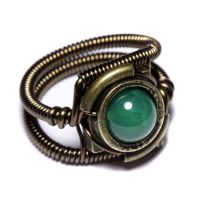 Steampunk Ring with Emerald Fire Agate by CatherinetteRings