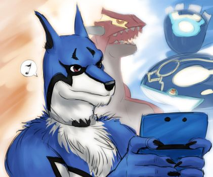 Doggie Kruger playing with 3DS by SoihtuSS