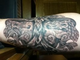 Celtic Wolves,Yggdrasil and serpent tattoo by Tattoo-Design