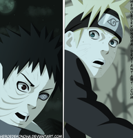 Naruto 615- Naruto and Obito by HEROEDEKONOHA