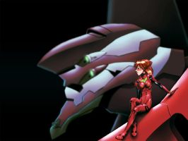 Asuka and her red monster by shurita