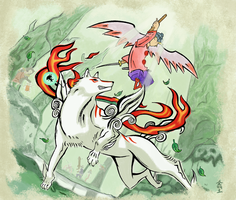 ReSubmit: Amaterasu and Waka by SojiOkage