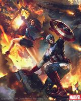Captain America and America Chavez Evo2 by Denstarsk8