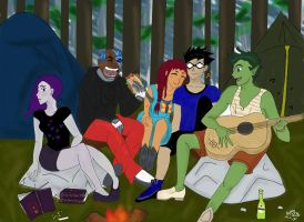 Teen Titans camping by lesliemint