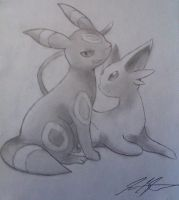 Espeon and Umbreon Shaded Sketch by twilightgod14