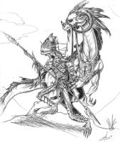 Lizard warrior and his steed by Midnite7175