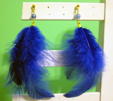 Blue Feather  - Glass Earrings by BloodRed-Orchid