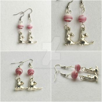 SALE Silver Cat with Glass Bead Dangle Earrings by RedSilentWolfJewelry