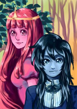 Princess Bubblegum and Marceline by lamascotadeldemonio