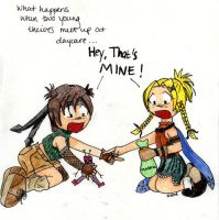 Yuffie and Rikku-Early Years by Neko-Kaolla