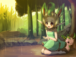 Leafeon girl by RockuSocku