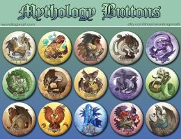 15 Mythology Buttons Set by neondragon