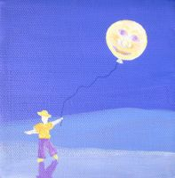 Boy with Moon Balloon by rebeccamichellelee