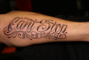 custom tattoo of script by dv8ordeath