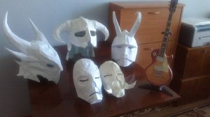 My skyrim helmets and masks by Chelsiec
