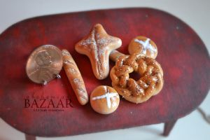 Assorted Easter Breads 1:12 Scale by abohemianbazaar