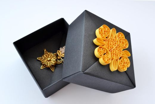 Black and Gold Jewelry Gift Box by ReverseCascade