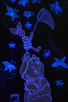 Piglet and Pooh catching flutterbyes (UV reactive) by MunkyKnuts