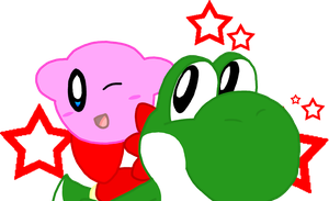 Kirby and Yoshi by Nintooner