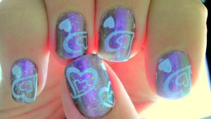 Hearts, hearts and more hearts Nail Art by wolfgirl4716