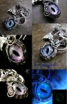 Super Colorshifting Dragon Eye Pendant - Wire Wrap by LadyPirotessa