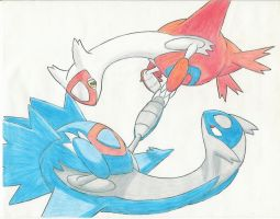 Latias and Latios by DragonArtist16